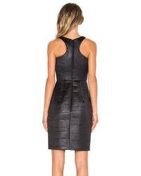MILLY - Black Croc Embossed Racerback Sheath Dress - Lyst