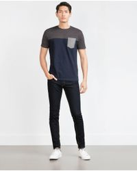 Zara | Blue Two-tone T-shirt for Men | Lyst