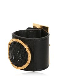 Versus - Black Lion Leather Cuff Bracelet for Men - Lyst