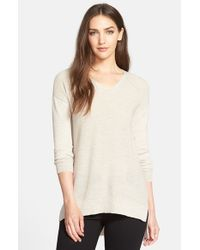 Eileen Fisher | Blue Rib Knit Wool V-Neck Top | Lyst