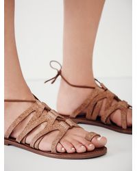 Free People | Brown Vegan Gemma Lace Up Sandal | Lyst