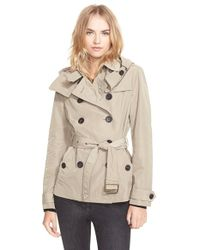 Burberry Brit | Green 'Balmoral' Cropped Trench Coat With Detachable Hood | Lyst