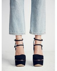 Free People - Black Twin Sundown Suede Platforms - Lyst