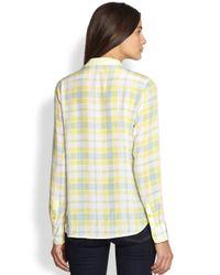 Equipment - Yellow Audrey Silk Plaid Shirt - Lyst