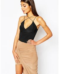 Club L | Black Cross Front Bralet | Lyst
