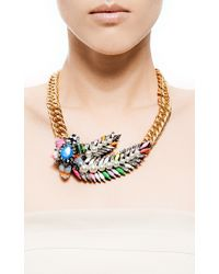 Shourouk | Metallic Pimp Aigrette Crystal and Sequin Goldplated Necklace | Lyst
