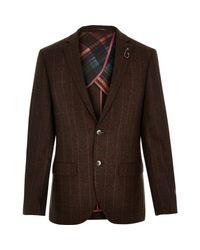 River Island - Brown Wool-blend Check Slim Blazer for Men - Lyst