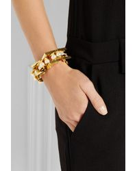 Lele Sadoughi - Metallic Pearl Satellite Gold-Plated Faux Pearl Bracelet - Lyst
