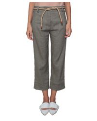 Erika Cavallini Semi Couture - Green Mari Linen And Cotton Pants - Lyst