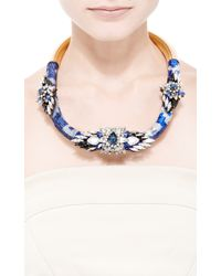 Shourouk | Mamba Crystal And Sequin Necklace In Blue | Lyst