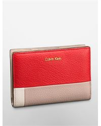 Calvin Klein | Pink Kelsey Pebble Leather Colorblock French Clutch | Lyst