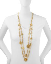 Jose & Maria Barrera | Metallic 24k Yellow Gold Plated Medallion Ornament Long Necklace | Lyst