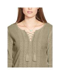 Ralph Lauren - Natural Embroidered Cotton Top - Lyst