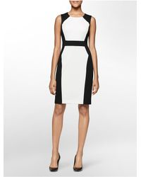 Calvin Klein | Black White Label Colorblock Ponte Knit Sleeveless Sheath Dress | Lyst