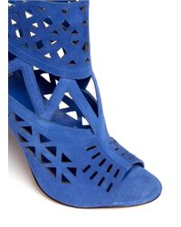 B Brian Atwood - Blue Levens Suede Laser-cut Sandals - Lyst