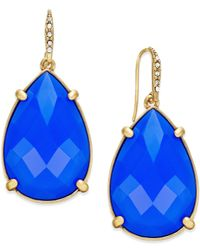 ABS By Allen Schwartz | Blue Gold-tone Large Teardrop Earrings | Lyst