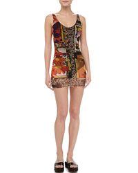 Jean Paul Gaultier | Multicolor Printed Sheer-overlay Swimdress | Lyst