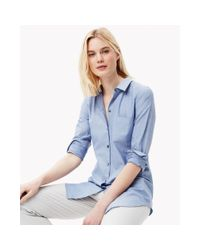Theory - Blue Cotton Melange Shirt - Lyst