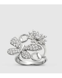 Gucci - Metallic Flora Ring In White Gold And Diamonds - Lyst