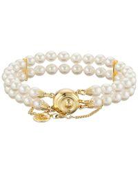 Majorica   Metallic Double Row Pearl Bracelet   Lyst