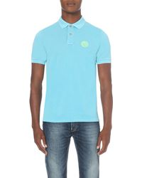 Replay | Blue Logo-embroidered Cotton-piqué Polo Shirt for Men | Lyst