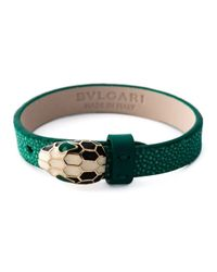 BVLGARI | Green Leather Snake Bracelet | Lyst