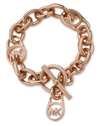 Michael Kors - Pink Rose Gold-Tone Logo Lock Toggle Bracelet - Lyst