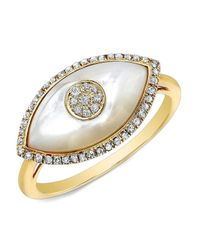 Anne Sisteron | Metallic 14kt Yellow Gold White Mother Of Pearl Diamond Evil Eye Ring | Lyst