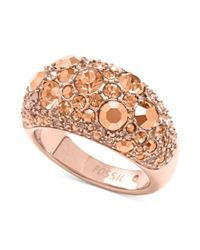Fossil - Pink Rose Goldtone Crystal Pave Dome Ring - Lyst