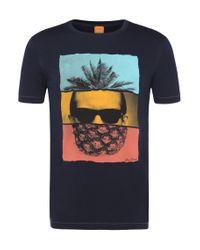 BOSS Orange | Blue T-shirt In Pima Cotton: 'towney 2' for Men | Lyst
