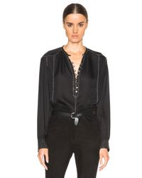 Isabel Marant | Black Alivia Evening Beaded Georgette Blouse | Lyst