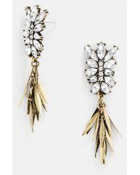 BaubleBar - Metallic 'fringe Fir' Drop Earrings - Clear/ Antique Gold - Lyst