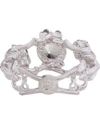Alexander McQueen - Metallic Silver and Crystal Twin Skeletons Ring - Lyst
