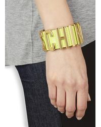 Moschino | Metallic Lime Leather Gold-plated Cuff | Lyst