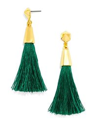 BaubleBar | Green 'festival Tassel' Drop Earrings - Emerald | Lyst