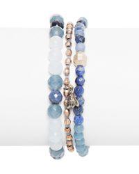 Chan Luu - Blue Beaded Bracelets, Set Of 3 - Lyst