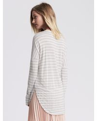 Banana Republic | White Striped Dolman-sleeve Shirttail Tee | Lyst