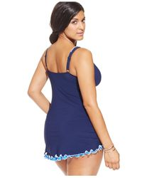 Gottex | Blue Plus Size Ruffled One-piece Swimdress | Lyst