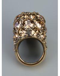 Alexander McQueen - Metallic Crystal Skull Ring - Lyst