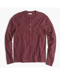 J.Crew - Red Flagstone Marled Henley for Men - Lyst