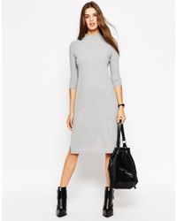 ASOS | Gray High Neck Column Dress In Rib | Lyst