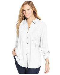 Style & Co. - White Plus Size Tab-sleeve Tunic Shirt - Lyst