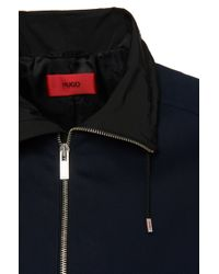 HUGO - Blue Regular Fit Cotton Jacket: 'agidius' for Men - Lyst