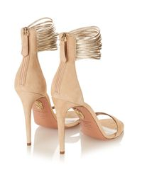 Aquazzura | Natural Spin Me Around Suede Sandals | Lyst