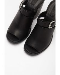 Forever 21 | Black Buckled Peep-toe Mules | Lyst