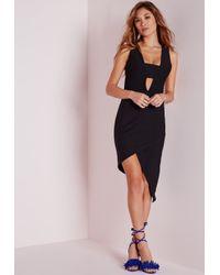 Missguided - Crepe Sleeveless Asymmetric Bodycon Dress Black - Lyst