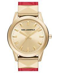Karl Lagerfeld - Metallic 'labelle' Stud Leather Strap Watch - Lyst