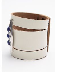 Free People - White Womens Monza Leather Cuff - Lyst