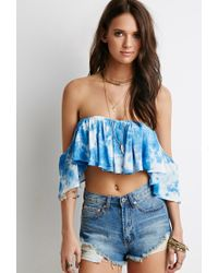 Forever 21 | Blue Tie-dye Off-the-shoulder Top | Lyst