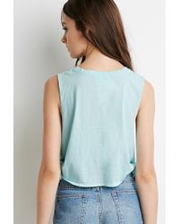 Forever 21 - Blue Side-knot Muscle Tee - Lyst